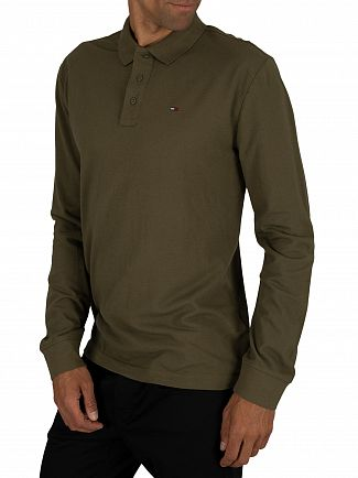 Tommy Jeans Olive Night Essential Longsleeved Poloshirt