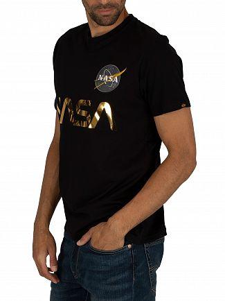 Alpha Industries Black/Gold NASA Reflective T-Shirt