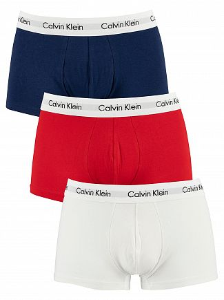 Calvin Klein White/Red Ginger/Pyro Blue 3 Pack Low Rise Trunks