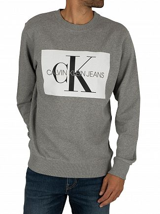 Calvin Klein Jeans Grey Heather/White Flock Monogram Sweatshirt