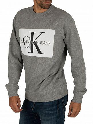 Calvin Klein Jeans Grey Heather/White Flock Monogram Sweatshirt
