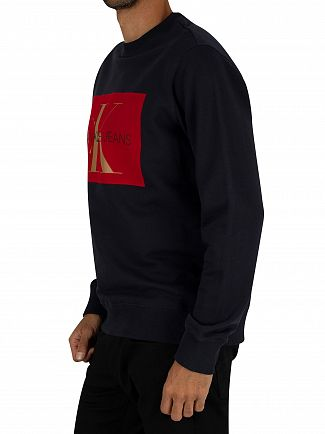 Calvin Klein Jeans Night Sky/Red Flock Monogram Sweatshirt