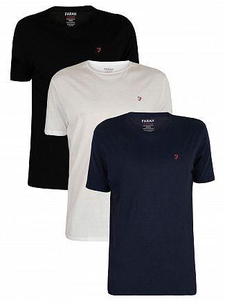 Farah Vintage White/Navy/Black 3 Pack Loungewear T-Shirts