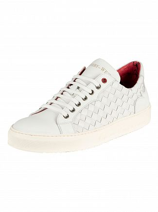 Jeffery West White Leather Trainers