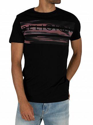 Religion Black Billboard Straight Hem T-Shirt