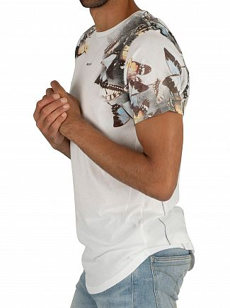 Religion White Butterfly Curved Hem T-Shirt