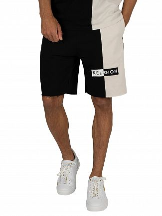 Religion Black Tag Sweat Shorts