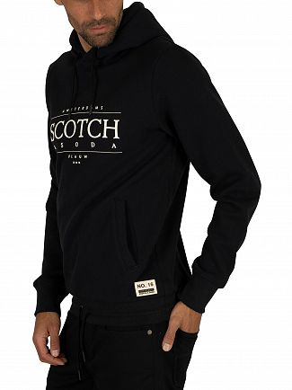 Scotch & Soda Black Graphic Pullover Hoodie