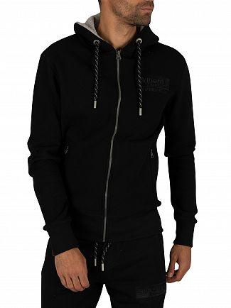 Superdry Black International Applique Zip Hoodie