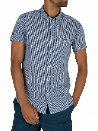 Superdry Checkers Blue Gingham Premium University Jet Short Sleeved Shirt