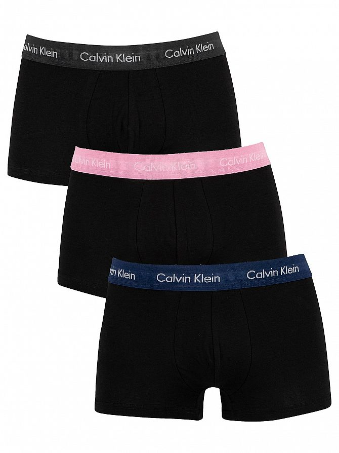 Calvin Klein Navy/Sweetheart/Charcoal 3 Pack Low Rise Trunks