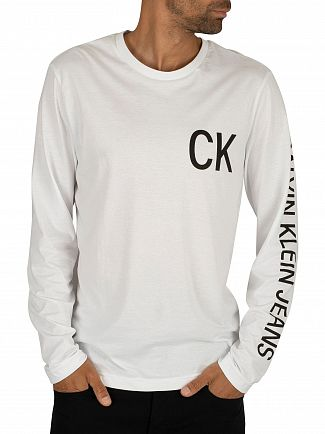 Calvin Klein Jeans Bright White/Black On The Back Longsleeved T-Shirt