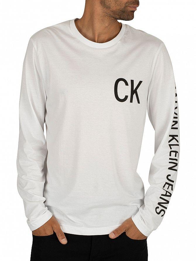 Calvin Klein Jeans Bright White/Black On The Back Longsleeved T-Shirt