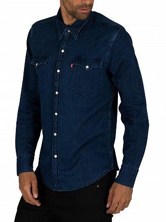 Levi's Indigo Flannel Mid Barstow Western Shirt