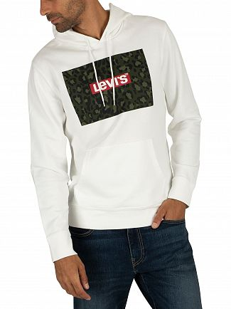 Levi's White Graphic Boxtab Pullover Hoodie