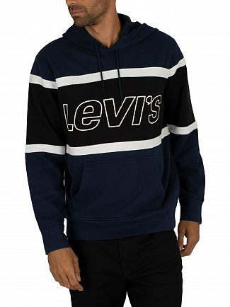 Levi's Dress Blue Pieced Pullover Hoodie
