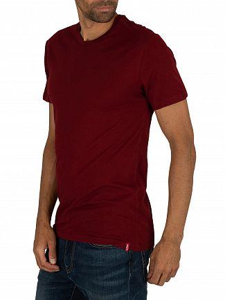 Levi's Pine Grove/Burgundy Slim 2 Pack Crew T-Shirts