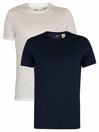 Levi's Navy/White Slim 2 Pack Crew T-Shirts