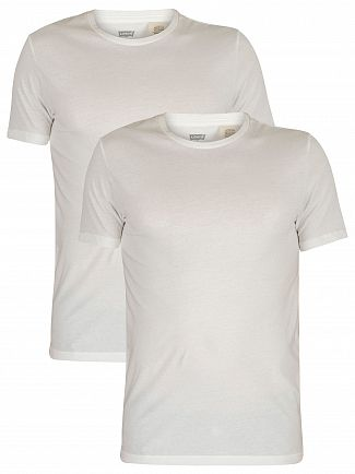 Levi's White Slim 2 Pack Crew T-Shirts