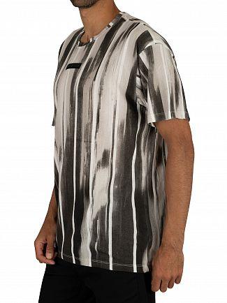Religion Black Static Stripe Straight Hem T-Shirt