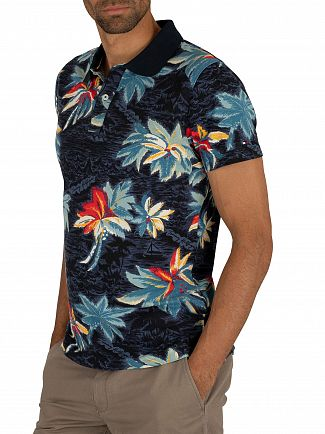 Tommy Hilfiger Vintage Indigo Allover Flower Print Slim Polo Shirt