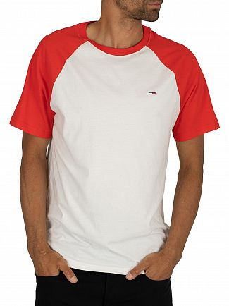 Tommy Jeans Flame Scarlet Contrast Sleeve T-Shirt