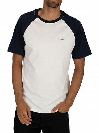 Tommy Jeans Black Iris Navy Contrast Sleeve T-Shirt