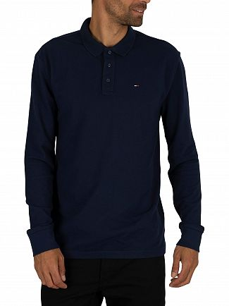 Tommy Jeans Black Iris Navy Essential Longsleeved Polo Shirt
