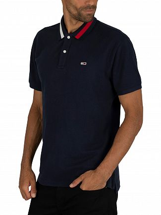 Tommy Jeans Black Iris Navy Flag Neck Polo Shirt