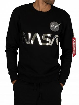 Alpha Industries Black/Chrome NASA Reflective Sweatshirt