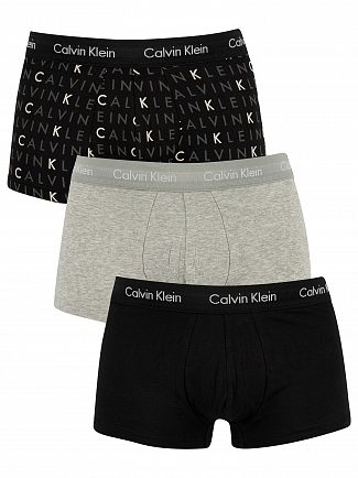 Calvin Klein Black/Grey Heather/Subdued Logo 3 Pack Low Rise Trunks