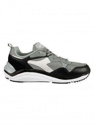 Diadora Ash Grey/White Whizz Run Leather Trainers