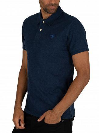 Gant Dark Indigo Melange Contrast Collar Pique Rugger Polo Shirt