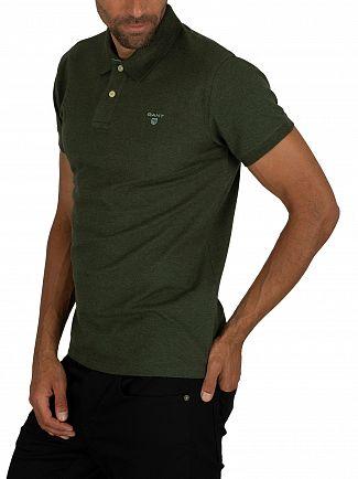 Gant Forest Green Mel Contrast Collar Pique Rugger Polo Shirt