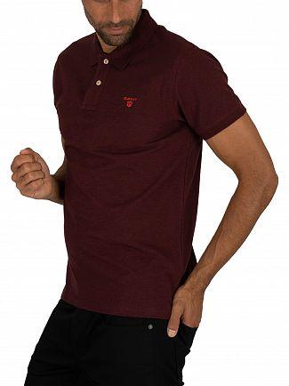 Gant Dark Burgundy Mel Contrast Collar Pique Rugger Polo Shirt