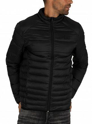 Jack & Jones Black Bomb Collar Puffer Jacket