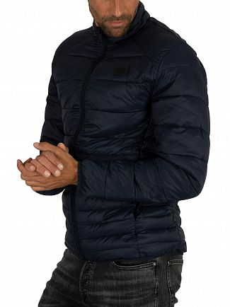 Jack & Jones Navy Blazer Bomb Collar Puffer Jacket