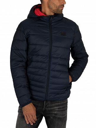 Jack & Jones Navy Blazer Bomb Hood Puffer Jacket