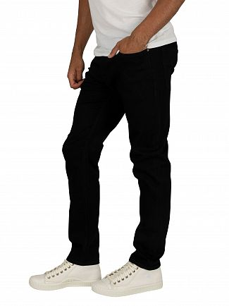 Jack & Jones Black Denim Tim Original 816 Slim Straight Jeans