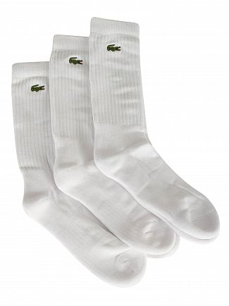 Lacoste White 3 Pack Logo Socks