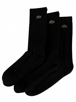 Lacoste Black 3 Pack Logo Socks