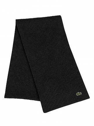 Lacoste Dark Grey Ribbed Logo Scarf