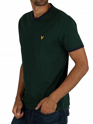 Lyle & Scott Jade Green/Navy Ringer T-Shirt