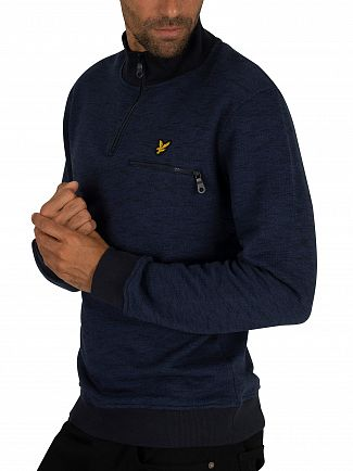 Lyle & Scott Navy Space Dye 1/4 Zip Sweatshirt