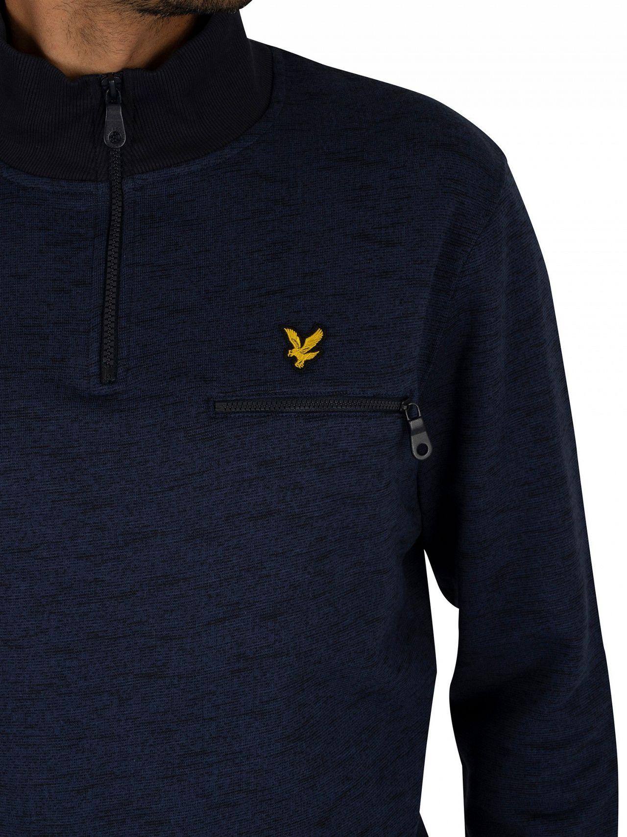 d0099d09f Lyle & Scott Navy Space Dye 1/4 Zip Sweatshirt