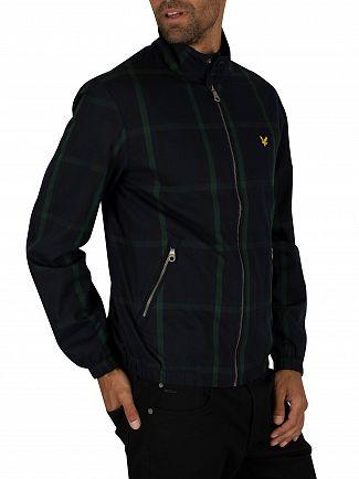 Lyle & Scott Navy Check Tartan Harrington Jacket