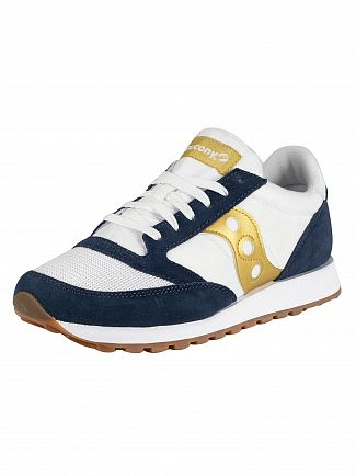 Saucony White/Navy/Gold Jazz Original Vintage Trainers