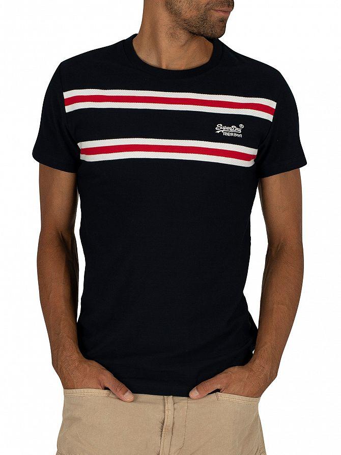 Superdry Rich Navy Herringbone Stripe T-Shirt