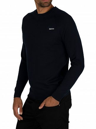 Superdry Classic Navy Orange Label Cotton Crew Knit