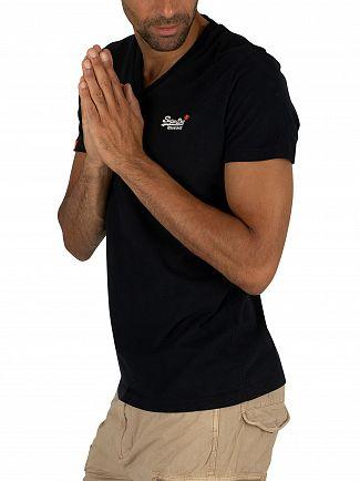 Superdry Eclipse Navy Orange Label Vintage EMB V-Neck T-Shirt